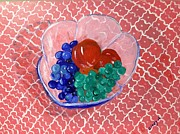 Blue Grapes Photos - Fruit in a glass bowl by Cindy Calderon