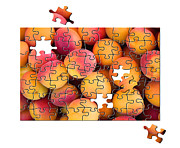 Puzzle Framed Prints - Fruit jigsaw1 Framed Print by Jane Rix