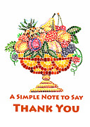 Roman Vase Prints - Fruit Mosaic Thank You Note Print by Irina Sztukowski