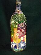 Wine Bottle Glass Art - Fruit of the Vine by Kimberly Barrow