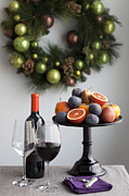 Red Wine Bottle Prints - Fruit On Cake Stand, Red Wine And Christmas Wreath, Ontario, Canada Print by Susan Findlay