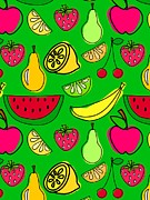 Banana Art Digital Art Prints - Fruit On Green Background Print by Lana Sundman