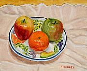 Tangerine Paintings - Fruit on Plate Still Life by Daniel Fishback