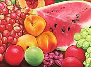 Watermelon Pastels Posters - Fruit Poster by Paula  Parker