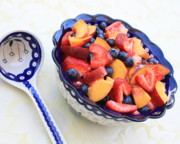 Fruit Salad With Spoon Print by Carol Groenen