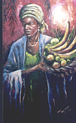 Culture Sculpture Posters - Fruit Seller Poster by David Omotosho