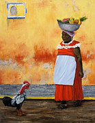 Stucco Painting Posters - Fruit Seller Poster by Roseann Gilmore