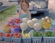 Farm Stand Painting Prints - Fruit Stand Girl Print by Cathy France
