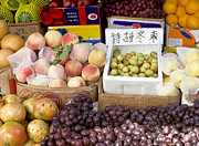 Peaches Art - Fruit Stand in Beijing by Glennis Siverson