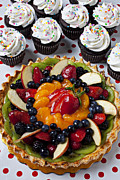 Fruit Still Life Framed Prints - Fruit tart pie and cupcakes  Framed Print by Garry Gay