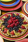 Plate Plates Prints - Fruit tart pie Print by Garry Gay