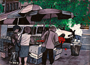 Umbrella Drawings Framed Prints - Fruit Vender Brooklyn NYC Framed Print by Al Goldfarb