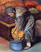 Vegetables Reliefs Prints - Fruit Vendor Print by Enzie Shahmiri