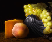 Silver Bowl Prints - Fruit With Cheese Print by Tom Mc Nemar
