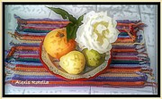 Alexis Rotella Posters - Fruit with Rose Poster by Alexis Rotella