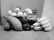 Avocados Posters - Fruit with Yams Black and White Poster by Jamey Balester