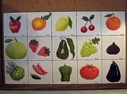 Food And Beverage Ceramics Prints - Fruits and vegetables Print by Hilda and Jose Garrancho