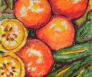 Tangerines Mixed Media - Fruits and Veggies Medley 1 by Laura Heggestad
