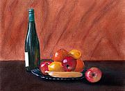 Food And Beverage Pastels Originals - Fruits and Wine by Anastasiya Malakhova