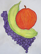 Apple Art Pastels Posters - Fruits Poster by Vivekanand Murthy