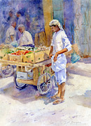 Bazaar Paintings - Fruitseller Jeddah by Dorothy Boyer