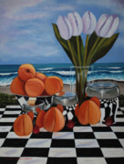 Peaches Painting Prints - Fruity Day at The Beach 3 Print by Cynthia Bluford