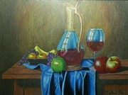 Glass Bottle Drawings Originals - Fruity Still Life by Mickael Bruce
