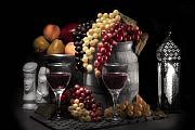 Wine-glass Posters - Fruity Wine Still Life Selective Coloring Poster by Tom Mc Nemar