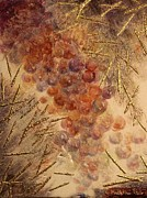 Blue Grapes Mixed Media Prints - Frutto della Terra Print by Kathleen Pio