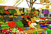 Digital Framed Prints Art - Fruttolo Italian Vegetable Stand by Harry Spitz