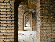 Dry Tortugas Framed Prints - Ft Jefferson Endless Archways Framed Print by Elin Mastrangelo