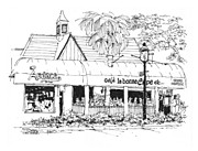 Restaurant Drawings Prints - Ft. Lauderdale Cafe La Bonne Crepe Restaurant Print by Robert Birkenes