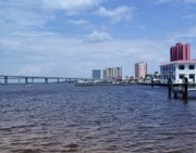 Florida Bridge Photo Originals - Ft. Myers River Skyline by Florene Welebny