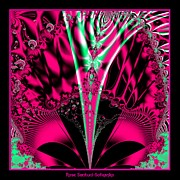 Alien Mask Posters - Fuchsia Alien Mardi Gras Mask Fractal 78 Poster by Rose Santuci-Sofranko