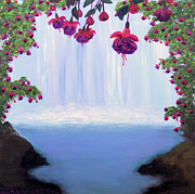 Waterfalls Paintings - Fuchsia Falls by Janet Greer Sammons