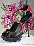 Shoe Mixed Media Prints - Fuchsia Orchid Colour Block Print by Karon Melillo DeVega
