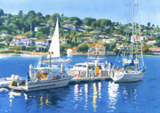 Sail Boats Painting Posters - Fuel Dock Shelter Island San Diego Poster by Mary Helmreich