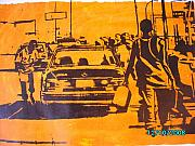 Printmaking Mixed Media - Fuel Scarcity by Olaoluwa Smith