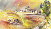 Churches Drawings - Fuente del Cuellar in Spain by Miki De Goodaboom