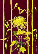 Yellow Flowers Painting Prints - Fuji Mums and Bamboo Print by Janis Grau