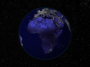 Planet Map Prints - Full Earth At Night Showing Africa Print by Stocktrek Images
