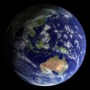 Planet Map Prints - Full Earth From Space Showing Australia Print by Stocktrek Images