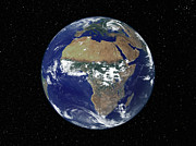 Planet Map Prints - Full Earth Showing Africa And Europe Print by Stocktrek Images