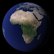 Planet Map Prints - Full Earth Showing Africa, Europe, & Print by Stocktrek Images