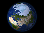 Snow Globe Posters - Full Earth Showing The Arctic Region Poster by Stocktrek Images