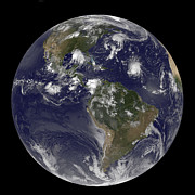 Full Earth Showing Tropical Storms Print by Stocktrek Images