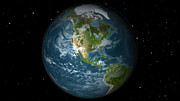 Planet Map Prints - Full Earth View Showing North America Print by Stocktrek Images