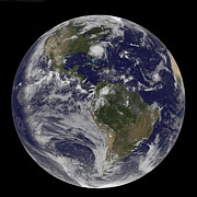 Continents Posters - Full Earth With Hurricane Irene Visible Poster by Stocktrek Images