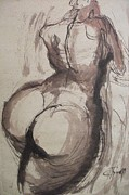 Nudes Drawings Originals - Full Figure - Sketch of a Female Nude by Carmen Tyrrell