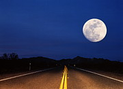 Double Yellow Line Posters - Full Moon Above Empty Road At Night, Usa Poster by Siegfried Layda